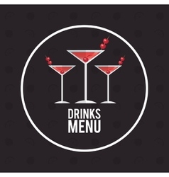 Drink menu alcoholic cocktail manhattan vector