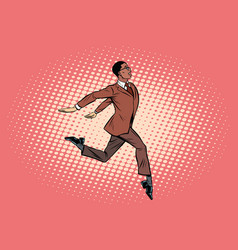 elegant businessman runs forward vector image