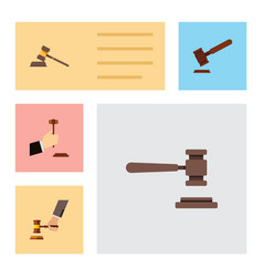 Flat icon lawyer set of court crime law and vector