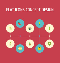 Flat icons duchess bulgarian bell lime and other vector