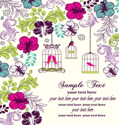 Floral invitation card with birdcage vector