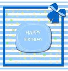 happy birthday card ribbon bow vector image vector image