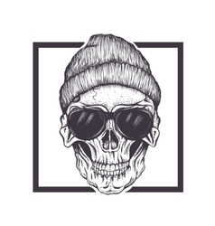 Hipster skull sunglasses and hat vector