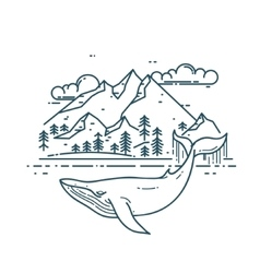 Huge whale with mountains landscape vector