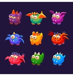 Little alien monsters with and without wings vector
