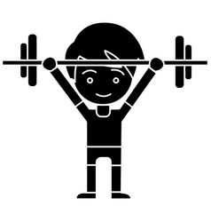 man boy weights up icon vector image