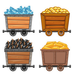 Mining objects on wooden wagon vector