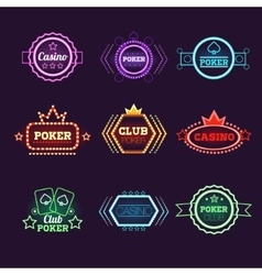 Neon Light Poker Club and Casino Emblems Set vector image vector image