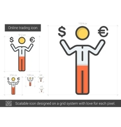 Online trading line icon vector