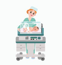 pediatrician doctor with vector image vector image
