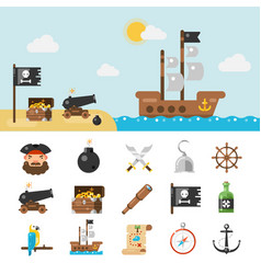 pirate icons and full vector image