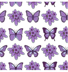 Seamless pattern with lavender flowersbutterflies vector