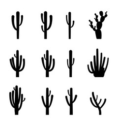 set of cactus in black silhouette style vector image vector image