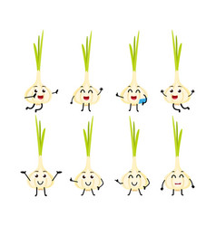 Set of funny garlic vegetable cartoon character vector