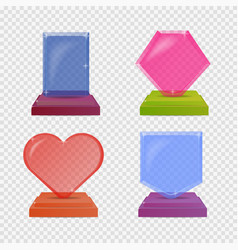 set realistic glass trophy awards colorful vector image