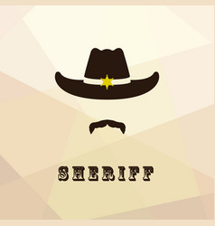 sheriff face icon isolated on multicolor backgroun vector image vector image