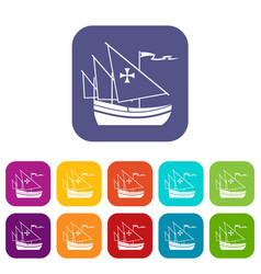 Ship of columbus icons set vector