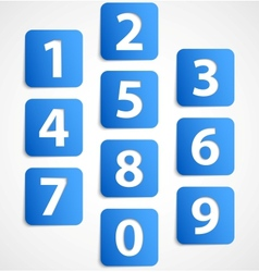 Ten blue 3d banners with numbers vector image