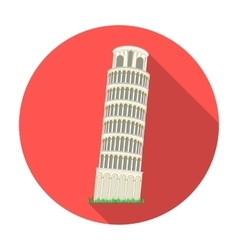 Tower of Pisa in Italy icon in flat style isolated vector image vector image
