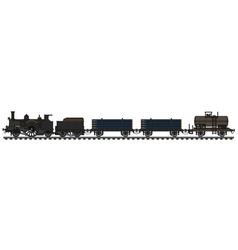 Vintage steam freight train vector