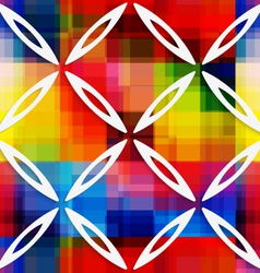 White oval net on rainbow layer seamless pattern vector image