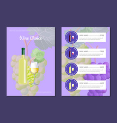 wine choice and menu card vector image vector image