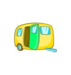 Yelllow camping trailer icon cartoon style vector