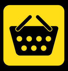 Yellow black sign - shopping basket icon vector