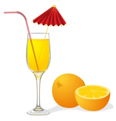 Ripe orange and goblet of juice vector