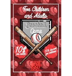Color vintage baseball poster vector