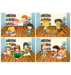 Students reading book in room vector