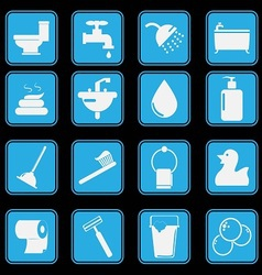 bathroom and toilet icon set basic style vector image