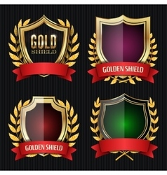 Golden Shield Set With Laurel Wreath And Red vector image