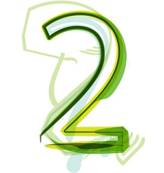 Green number 2 vector image