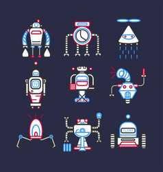 Robots android for doing household set on dark vector