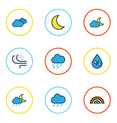 Weather colored outlines set collection of lunar vector