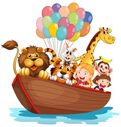 A boat full of animals vector image