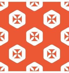 Orange hexagon maltese cross pattern vector
