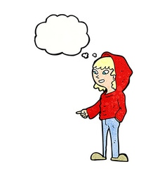 Cartoon pointing teenager with thought bubble vector