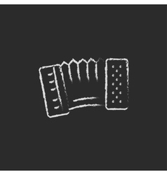 Accordion icon drawn in chalk vector image