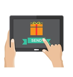 Send gift from tablet vector