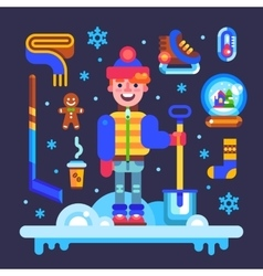 Set of winter attributes for fun and holidays vector