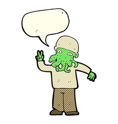 Cartoon cool alien with speech bubble vector