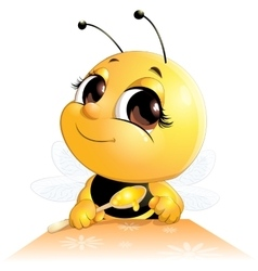 Bee sits with a spoon vector