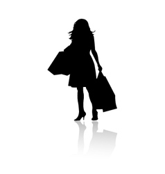 Silhouette girl shopping vector
