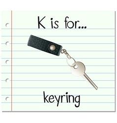Flashcard letter k is for keyring vector