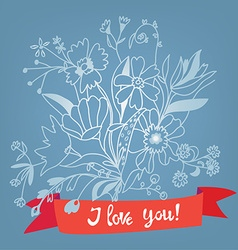 Love you floral card with lettering - retro style vector