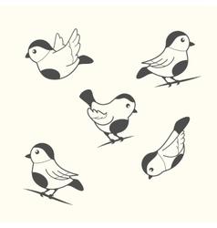 birds in vintage style vector image