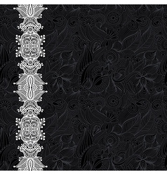 black and white ornate floral background vector image vector image