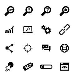 black seo icon set vector image vector image